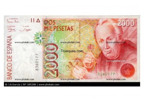 Billete de 2000 pesetas por escuco ofertas