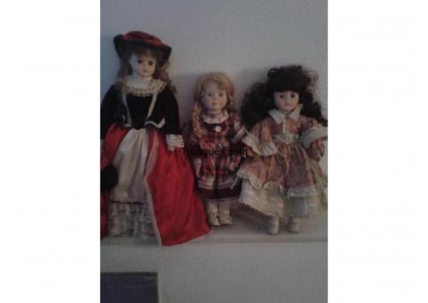 3 muñecas de porcelas antiguas por algo que me ineterese